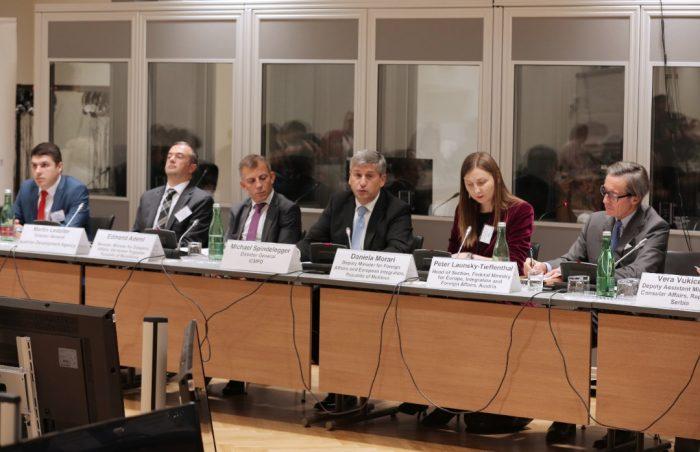 Offizielle Begrüßung der Teilnehmer der Internationalen Konferenz in Wien, bei der das Projekt Link Up Serbia präsentiert wurde.